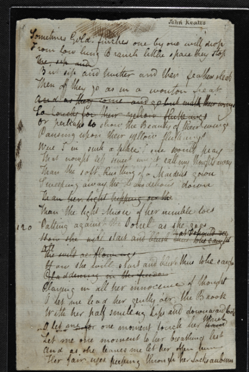 A page from the manuscript of Keats' poem 'I stood tip-toe on a little hill'