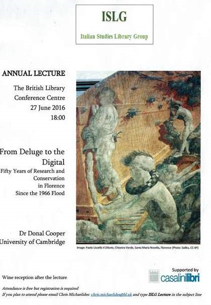 Illustrated flyer advertising the 2016 ISLG lecture